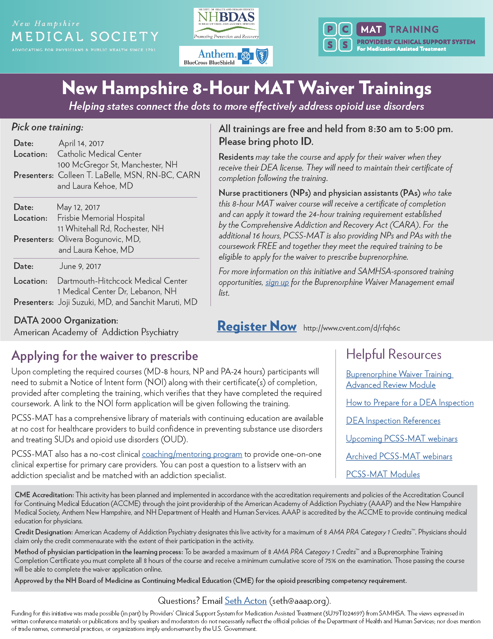 New Hampshire MAT Waiver Courses Flyer 2017